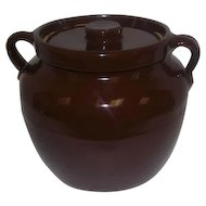 Brown Pottery Crock Bean Pot w/Lid & Double Handles