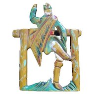 """Carved/Pierced & Hand Painted Bakelite Dancing Man at a Fence - Broach Pin - 2 1/4"""" x 2 13/16"""""""