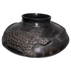 Casas Grandes - Black Indian Vase - Signed Maria Ortega
