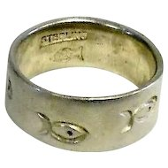 Classic Sterling Fish Engraved Ring - Size 5.75