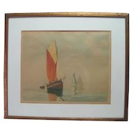 Colored Lithograph - Sailing - Prof. Framed & Matted