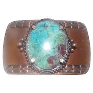 "Copper Inlaid Turquoise Stone Belt Buckle w/ Arrow Design - 3"" x 1 7/8"""