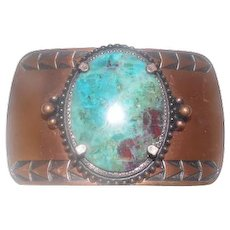 "Copper Inlaid Turquoise Stone Belt Buckle w/ Arrow Design - 3"" x 1 7/8"""