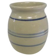 "Crock Vase w/Blue Stipes - Marked Peter Darrell Fugler - 5"" Tall"