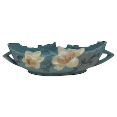"""Deep Blue Roseville Double Handled Console Bowl 449-10 - 13 1/2"""" wide"""