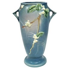 "Deep Blue Roseville Floral Double-Handled Vase - 10 1/2"" Tall"