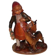 "Detailed Little Red Riding Hood Hand Carved Art Piece - 9 3/4"" Tall"