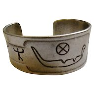 Details from Norwegian About 3000 Years Old Made in Norway -Hieroglyphic Pewter Cuff Bracelet