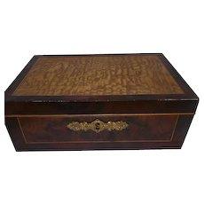 Early 1800's Veneered Wooden Yellow Pine/Rose Wood Jewelry/Keepsake Box