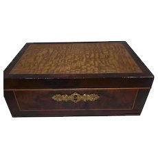 Early 1800's Veneered Wooden Yellow Pine/Rose Wood Jewelry/Keepsake Box