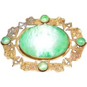 """Early 1900's Art Noveau Broach Pin with Turquoise Stones - 1 7/8"""" x 1 7/16"""""""
