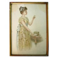 "Early 1900's Colored Print with Frame ""Love's Secret"""