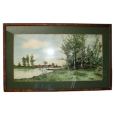 Early 1900's Framed Landscape Watercolor Signed Noland Fry