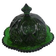 "Emerald Green Glass Cheese Dish w/Plate - Star Pattern - 5 1/4"" Tall"