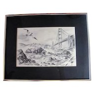"Etching - ""Ashore at the Golden Gate"" - by Alec Stern"