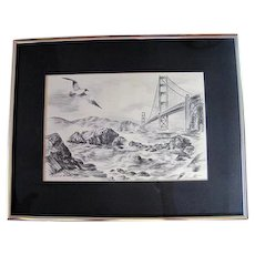 """Etching - """"Ashore at the Golden Gate"""" - by Alec Stern"""