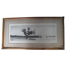 Etching - Landscape by C. X. Harris - Signed