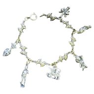 "European Silver Colored Charm Bracelet w/(6) Charms - 7 3/4"" Long"