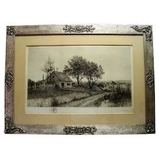 Farm Landscape Lithograph by J. O. Anderson - Original Ornate Designed Frame - Signed in Pencil & Features a Lady with Spinning Wheel in Pencil Hallmark - Fabulous Piece