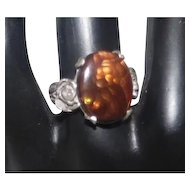Floral Design Brown Fire Opal on Silver - Size 6.75