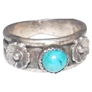 Floral Man-MadeTurquoise Stone Pawn Ring - Size 14