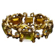 "Florenza Marked Rhinestone Clasp Bracelet with Safety Chain - 8"" Long"