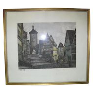 Framed - Heiner Krasser Signed Original Etching Radierung Plonlein - Germany Lithograph