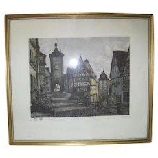 Framed - Heiner Krasser Signed Original Etching Radierung Plonlein - Germany Lithograph