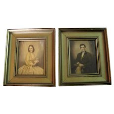 Framed Colonial Man & Virginia Bell Colored Litho By C. Bosseron Chambers