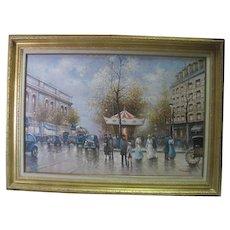 Framed Oil on Canvas - Paris Streets Signed by Sebastian