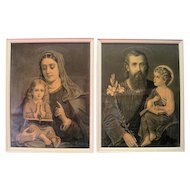 Framed Pair 1800's of Black and White DAM Religious Lithographs