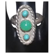 Man-Made Green & Turquoise Stone Ring on Silver - Size 10