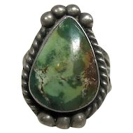 Green Turquoise Stone Set in Silver - Size 5.25