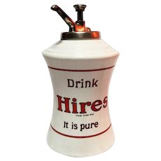 "Hires Root Beer Dispenser with Original Pump - 14"" Tall"