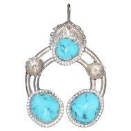 Horseshoe Designed 3-Turquoise Stone Pendant on Silver - 27 grams