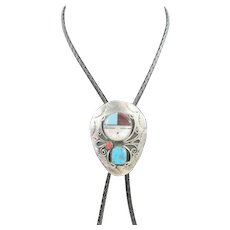 Immaculate Zuni Concho Bolo Pawn Featuring Detailed Stones & Vivid Colors Set On Silver