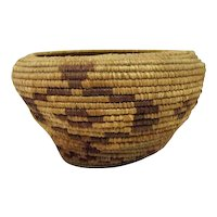 "Indian Coiled Basket - 3 3/4"" Tall"
