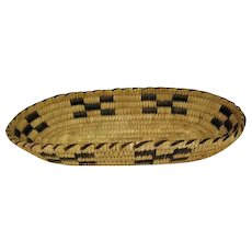 "Indian Coiled Oval Basket - 12 1/2"" Long"