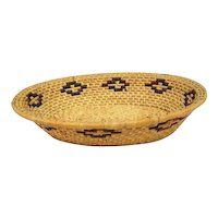 "Indian Coiled Oval Basket - 14 1/2"" Long"
