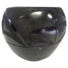 "Indian Pottery Black on Black Pottery Vase/Bowl - 3 1/2"" Tall"