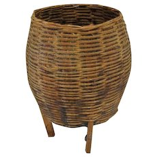 "Indian Weaved Basket with Legs and Sap Overlay - 4 1/2"" Tall"