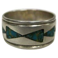Inlay Turquoise Arrow Design Set in Silver Ring Signed TC - Size 9