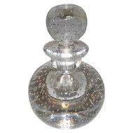 "Italian Art Glass Paperweight Perfume Bottle w/Bubbles - 5 3/4"" Tall"