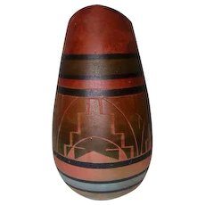 "Lacota Sioux Pottery Vase - Signed Short Bull - Rapid City, SD - 9"" Tall"