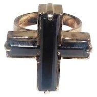 Lady's Sterling Cut Rhinestone Cross Ring - Size 8