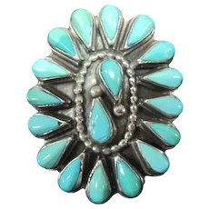 Lady's Zuni Ceremonial Ring w/Sterling Turquoise Stones - Size 6.25