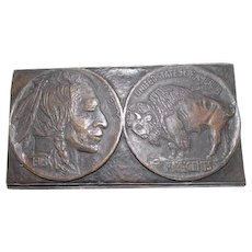 Large Bronze Buffalo/Indian Head Nickel 1913 Paperweight - Rare