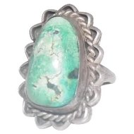 Large Natural Turquoise Stone Ring - Size 7.5