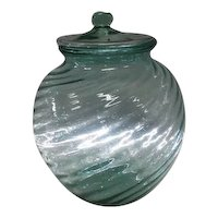 "Large Pale Green Swirled Line Design Cookie Jar w/Lid - 10"" Tall"