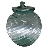 "Large Pale Green Swirled Line Design Cookie Jar w/Lid - 10"" Tall"